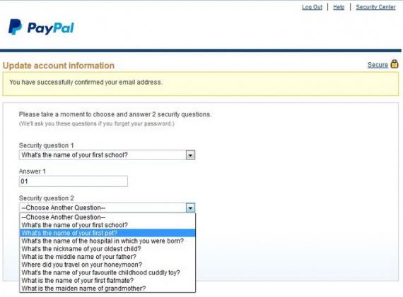 Задание секретных вопросов в paypal